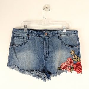 Mossimo Embroidered High Rise Denim Shorts